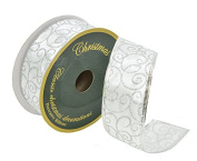 Christmas Decorative Gift and Tree Wired Sheer Glitter Ribbon 5.1cm W x 15m Spool
