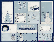 CHRISTMAS 36 PEEL 'N STICK GLITTER GIFT TAGS MERRY CHRISTMAS LET IT SNOW