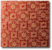 4.6m Roll Red & Gold Medallion Embossed Gift Wrap Paper - 80cm wide