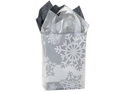 "10 Gift Wrap bag bags Christmas Winter Holiday Snowflake Flurry Frosted Plastic Bags Bulk 4 mil Gift Bags 8x 4"" x 25cm"