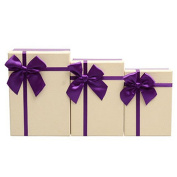 Drasawee Gift Boxes With Lids 3 Assorted Sizes Beige Cover Purple Botton