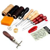 R & B 14Pcs Set Leather Craft Hand Stitching Sewing Tool Thread Awl Waxed Thimble Kit
