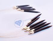 Ebony Crafted Single Point Circular Brass Capped Knitting Needles | Stitching Yarn Weaving Crochet Hooks & Supplies| Yarn Accessories | Nagina International