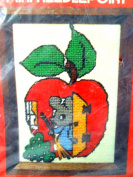 New Sterling Mini-Needlepoint Kit # 303 Clean Sweep Mouse Sweeping out His Home Which is an Apple