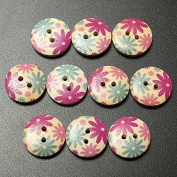 10pcs 18mm Round Wooden Flower Printed Button Craft Colourful DIY Sewing Crafts Clothes Decoration