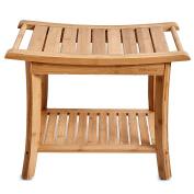 WELLAND Bamboo Shower Bench with Storage Shelf, 60cm x 33cm x 46cm
