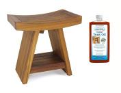The Original Asia 46cm Teak Shower Bench with Shelf & AquaTeak Premium Teak Oil