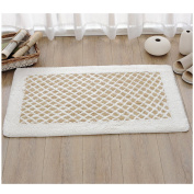LOCHAS High Absorbed Bath Rug Chenille Cotton Carpet Shower Rugs Door Mats With One Free Non-Slip Rug Pad, 80cm L X 50cm W, White & Yellow