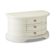 Jaclyn Smith White MDF Half-Moon Jewellery Box three drawers interior mirror