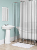Splash Home 100% PEVA Shower Curtain Liner, 6 Gauge , No Odour, Non Toxic, No Chemicals,Ultra soft , Use as Standalone or Liner, 180cm x 180cm (Clear)with mesh header
