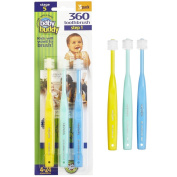 Baby Buddy 360 Toothbrush—Innovative 6-Stage Oral Care System Grows With Your Child—Stage 5 for Babies/Toddlers—Kids Love Them Age 4 to 24 Months, Blue/Mint/Yellow 3 Pack