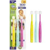 Baby Buddy 360 Toothbrush—Innovative 6-Stage Oral Care System Grows With Your Child—Stage 5 for Babies/Toddlers—Kids Love Them Age 4 to 24 Months, Pink/Mint/Yellow 3 Pack