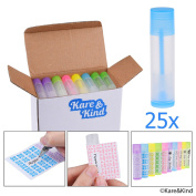 Lip Balm Container Tubes - 25-Pack (5x5 colours) - DIY - 3/16 Oz (5.5 ml) - Including 25 Writeable (5x5 colours) & 25 Printed Stickers - Twist Mechanism and Cap - Empty - Make Lip Balm Chapsticks