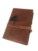 Handmade Leather Journal 10cm X 15cm Be the Change You Wish to See in the World Tree Design