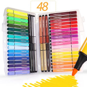 Colouring Pens Washable,SAYEEC 48 Assorted Colours Eco-friendly Non-Toxic Water Colour Fine Fibre Tipped Pen With Foldable Case - Best for Adult Colouring Books/Manga/Comic/Calligraphy/Sketching
