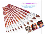 Mullsan 12 pc.Round Pointed Tip Pony Hair Watercolour Paint Brush Set Acrylic Oil Painting Brush Brush & Palette Set