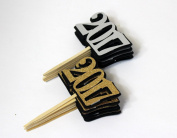 All About Details Black, Silver, & Gold 2017 Cupcake Toppers, 12 pcs