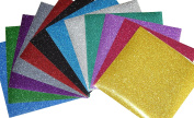 GLITTER Heat Transfer Vinyl for T Shirts garments bags and other fabrics-12 Glitter Sheets 25cm X 25cm - Assorted colours - Iron on Vinyl