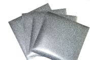 GLITTER SILVER Heat Transfer Vinyl for T Shirts garments bags and other fabrics- 4 Glitter Sheets 25cm X 25cm - Iron on Vinyl