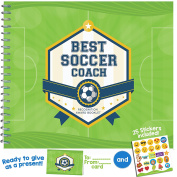 "SOCCER COACH GIFT - Unconditional Rosie ""Best Soccer Coach"" Recognition Award Booklet with Matching Card and Emoji Stickers"