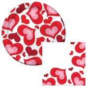 Valentine Hearts Lunch Plates & Napkins Party Kit for 8