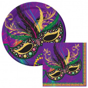 Mardi Gras Mask Lunch Plates & Napkins Party Kit for 8
