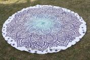 Bhagyoday Fashions- LOTUS Ombre Mandala Indian Roundie Beach Tapestry, Round Beach Throw, Oversize Towel, Circle Mandala Beach Towel Yoga Mat, Table Cover, Picnic Mat 180cm