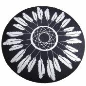 DueWork Large Round Dreamcatcher Feathers Black Odjibwa Ethnic Hippie Beach Towel Yoga Mat Tapestries Blanket Swimwear Cover Up