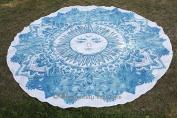 Exclusive- Sun & Moon Mandala Tapestry Indian Roundie, Mandala Beach Towel, Tapestry Roundie, Towel Yoga Mat Decor Throw, Picnic Beach Blanket 180cm