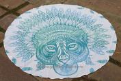 Indian Mandala African Tiger Round Tapestry Wall Hanging, Bohemian Mandala Beach Roundie Hippie Throw, Round Meditation Mat Decor, Beach Towel, Yoga Mat, Roundies Towels 180cm