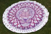 Exclusive- Rasta Lion Tapestry Mandala Indian Roundie, Hippie Boho Gypsy Table Cloth, Beach Towel, Picnic Round, Mandala Circle Beach Towel Yoga Mat Decor Ethnic 180cm