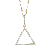 Sterling Silver Triangle Pendant Necklace, Cubic Zirconia Stones, 46cm Chain, For Girls And Women