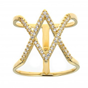Sterling Silver Gold Tone Diamond Shape In The Centre Ring, Cubic Zirconia Stones, For Girls And Women,