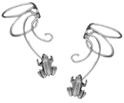Lucky Frog Pair 925 Sterling Silver Non-pierced Wave Ear Cuff Earrings