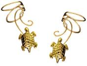 Sea Turtle Pair Gold On 925 Sterling Non-pierced Wave Ear Cuff Earrings