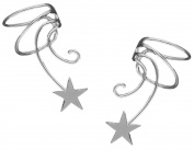 Shooting Star Pair 925 Sterling Silver Non-pierced Wave Ear Cuff Earrings