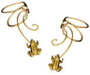 Lucky Frog Pair Gold On 925 Sterling Non-pierced Wave Ear Cuff Earrings