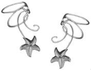 Star Fish Pair 925 Sterling Silver Non-pierced Wave Ear Cuff Earrings