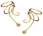 Simple Ball Gold On 925 Sterling Pair Non-pierced Wave Ear Cuff Earrings