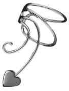 Small Heart Pair 925 Sterling Silver Non-pierced Wave Ear Cuff Earrings