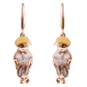 9K High Polished Rose Gold with Yellow-Black-Pink Pearl and 0.02ct Diamond Amazing Earrings