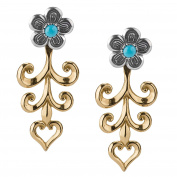 American West Mixed Metal Turquoise Flower Jacket Earrings