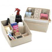 Set of 2- Storage Bins Trays Organisation Makeup Lotions for Bathroom Dorms Nursery