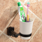 Bathroom One Cup Wall Mounting Brass Toothbrush and Toothpaste Holder Oil Rubbed Bronze Finish with a White Ceramic Tumbler