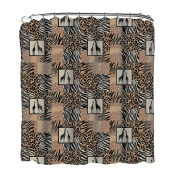 Indecor Home Fabric Jungle Patchwork Shower Curtain and Roller Hook Set
