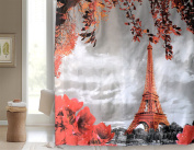 Get Orange Eiffel Tower Polyester Shower Curtain Bathroom Window Hangings Drapes Living Room Bedroom Curtain-180cm