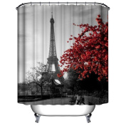 Get Orange maple Leaf & Eiffel Tower Design Shower Curtain Bathroom Waterproof Mildewproof Polyester Fabric with 12 Hooks 180cm X 180cm