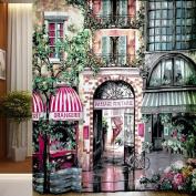 Get Orange Painterly Style Curtain Les Halles/ Rue de Rivoli Shower Curtain Liners 180cm X 180cm include Plastic Hooks