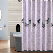 S-ZONE D02V527A Waterproof Fabric Butterfly Designer Shower Curtains 180cm x 180cm with 12 Hooks