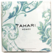 Tahari Home Fabric Shower Curtain Chinoisserie Damask Paisley Scroll Medallion Turquoise, Aqua, SPA Blue on White 180cm x 180cm